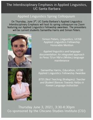 Flyer for Spring 21 colloquium
